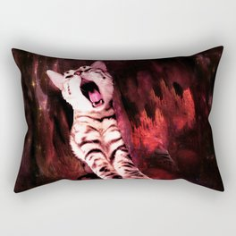 The Great Kitty Warrior of the Fiery Cat Cavern Rectangular Pillow