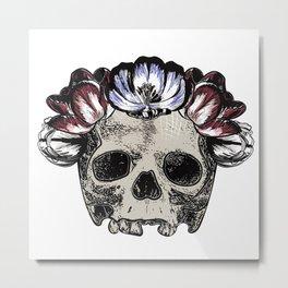 Skull wearing tulip flower crown Metal Print
