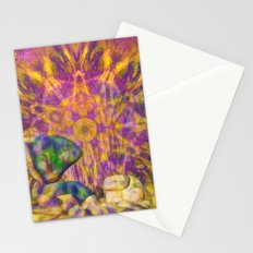 Balancing rock in psychedelic landscape Stationery Cards