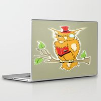 steam punk Laptop & iPad Skins featuring Steam Punk Owl by J&C Creations