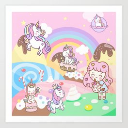 Unicorn Party in Candyland Art Print