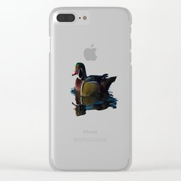 Colorful Wood Duck Clear iPhone Case