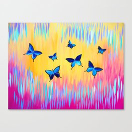 Butterflies and Abstract Colours Canvas Print
