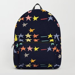 Colorful falling stars by night pattern Backpack