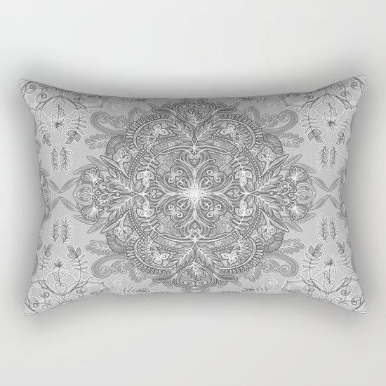 Vintage Winter Monochrome Doodle Rectangular Pillow