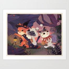 Adventure Cats Art Print