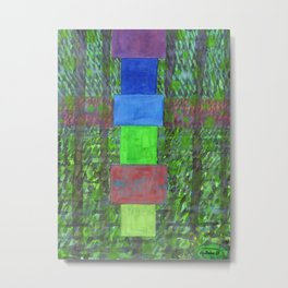 Piled Blocks within Striped Picturesque Painting Metal Print