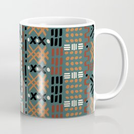Mudcloth No. 2 in Tri-Color Green Coffee Mug