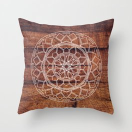 Rustic Wooden Mandala Throw Pillow