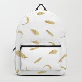 Gold Glitter Feathers Backpack