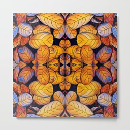 Golden Autumn Leaves Pattern Metal Print