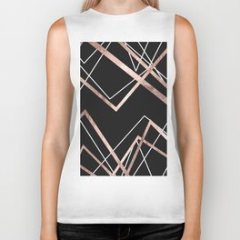 Rose Gold Black Linear Triangle Abstract Pattern Biker Tank