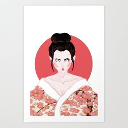 Pink Geisha Girl In White Art Print