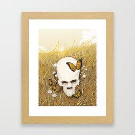 Skull and butterflies Framed Art Print