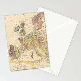 Vintage Geological Map of Europe (1856) Stationery Cards