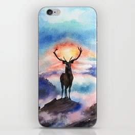 Deer on the top of the World - Watercolor Painting Art iPhone Skin
