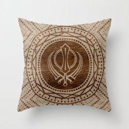 Khanda symbol on wooden texture Throw Pillow