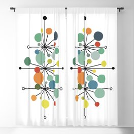 Atomic Age Nuclear Abstract Motif — Mid Century Modern Pattern Blackout Curtain