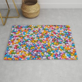 Rainbow Pastel Multicolored Sprinkle Dots Real Candy Pattern  Rug