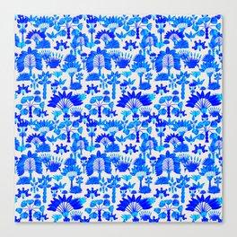 Exotic Garden Blue Canvas Print