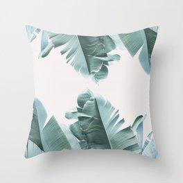 Blue Tropical Banana Leaf Plant Throw Pillow