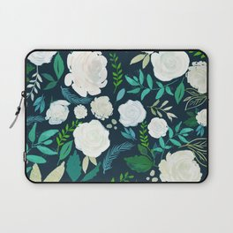 White Roses Pattern Watercolors Illustration Laptop Sleeve