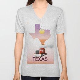 Texas trucking poster Unisex V-Neck