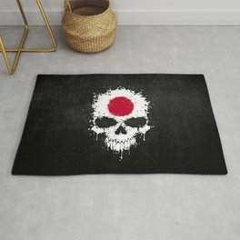 Flag of Japan on a Chaotic Splatter Skull Rug