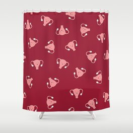 Crazy Happy Uterus in Red, Large Shower Curtain