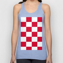 Red and white zig zag checkered artwork Unisex Tank Top