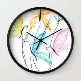 colorful flying butterflies Wall Clock