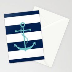Aqua Anchor Shape on Wide Stripes Pattern Stationery Cards