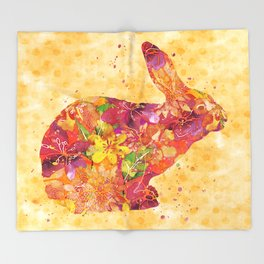 Happy Bunny flower watercolor pattern rabbit Throw Blanket
