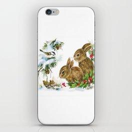 Vintage Christmas Bunnies iPhone Skin