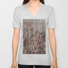 blooming dry flowers with brown dry grass background Unisex V-Neck