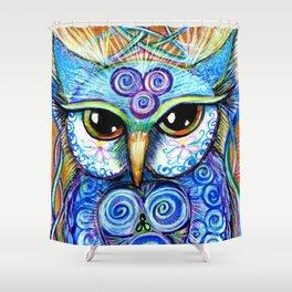 Spirit Owl, original illustration from Spirit Owl Series by Artist Sheridon Rayment Shower Curtain