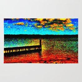 Colorful Sunset on Beachfront Rug