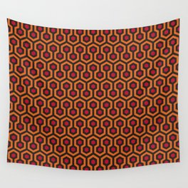 Retro Modern Orange Red Brown Hexagon Pattern Wall Tapestry