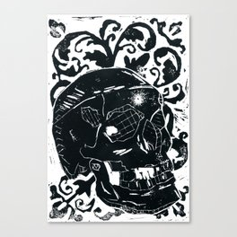 Black Lino Skull Canvas Print