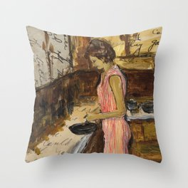 Female Figure Cooking Painting Collage Throw Pillow