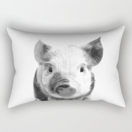 Black and white pig portrait Rectangular Pillow