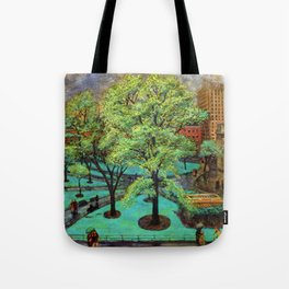 """Classical Masterpiece 'Spring, Washington Square, NYC"""" by John French Sloan Tote Bag"""