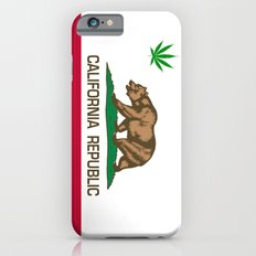 California Republic state flag with green Cannabis leaf Slim Case iPhone 6s