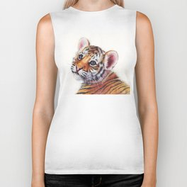 Tiger Cub Watercolor Biker Tank