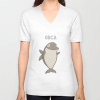 orca V-neck T-shirts featuring Orca by Carl Batterbee Illustration