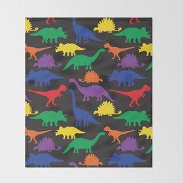 Dinosaurs - Black Throw Blanket
