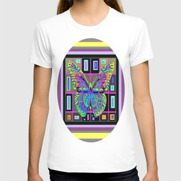 Geometric Deco Art Neon color  Butterfly Abstract T-shirt