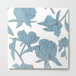 Roses in Blue Metal Print