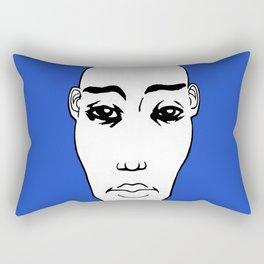 Portrait NB 03 fond bleu Rectangular Pillow