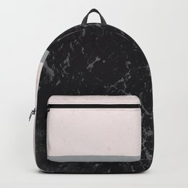 Grey Black Marble Meets Romantic Pink #1 #decor #art #society6 Backpack